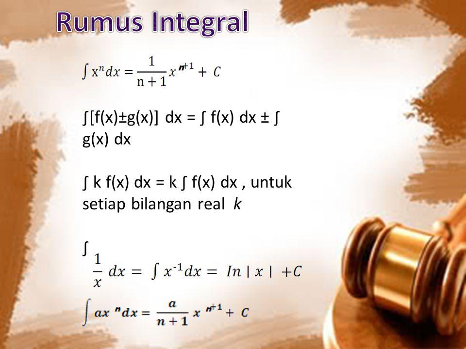 Rumus Integral ∫[f(x)±g(x)] dx = ∫ f(x) dx ± ∫ g(x) dx
